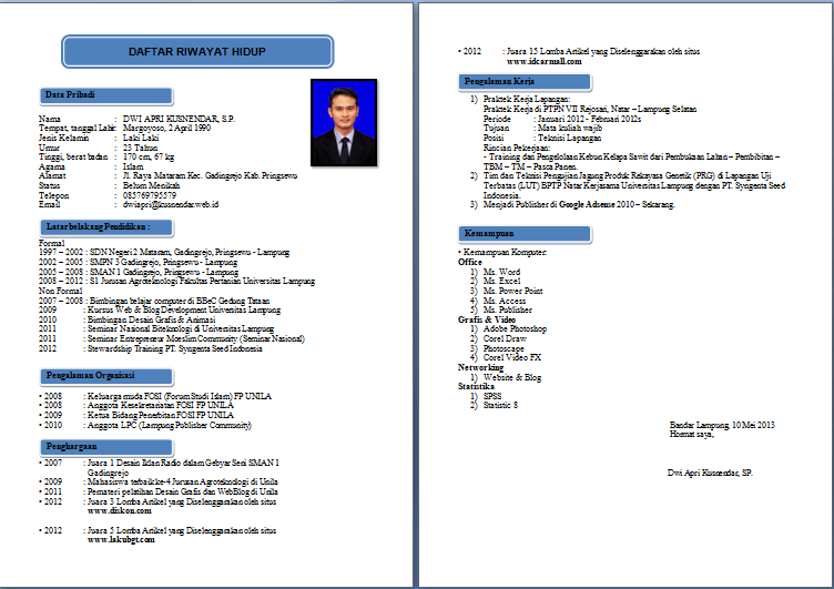 Format Resume Yang Baik Resume Format Resume Resume Cv