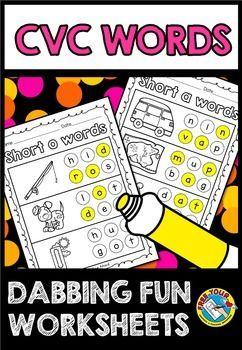 Cvc worksheets kindergarten (build a word) cvc words with dots dab ...