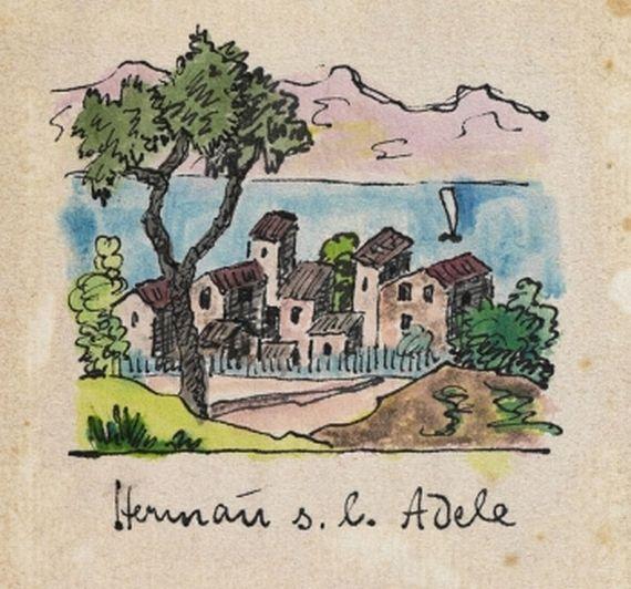 Hermann Hesse - 1 Aquarell mit Widmung 1930 Aquarelle - l k che mit kochinsel