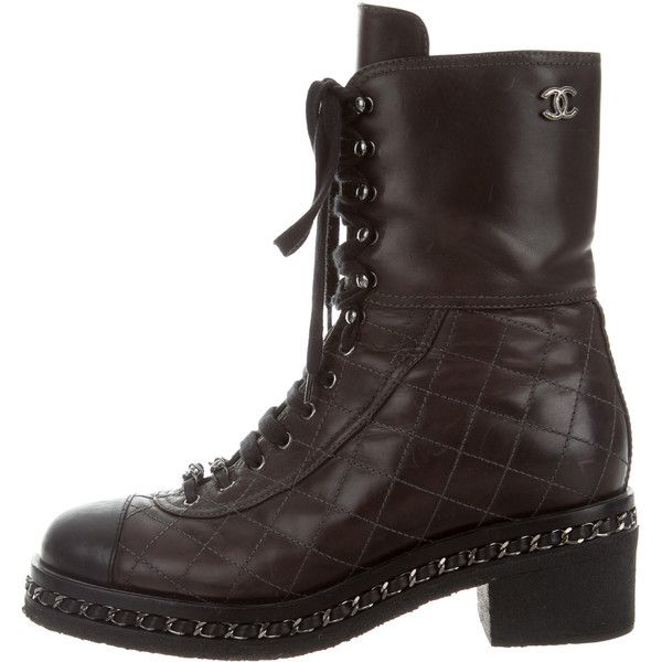 chanel quilted combat boots. pre-owned chanel quilted combat boots ($945) ❤ liked on polyvore featuring shoes i