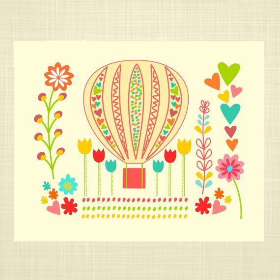 Hot Air Balloon- FLORAL- Kids Wall Art, Nursery art, Baby Girl ...