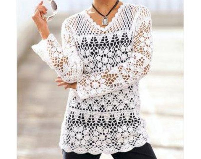 Crochet Tunic Patterncrochet Motifs Patterncrochet Lace Tunic