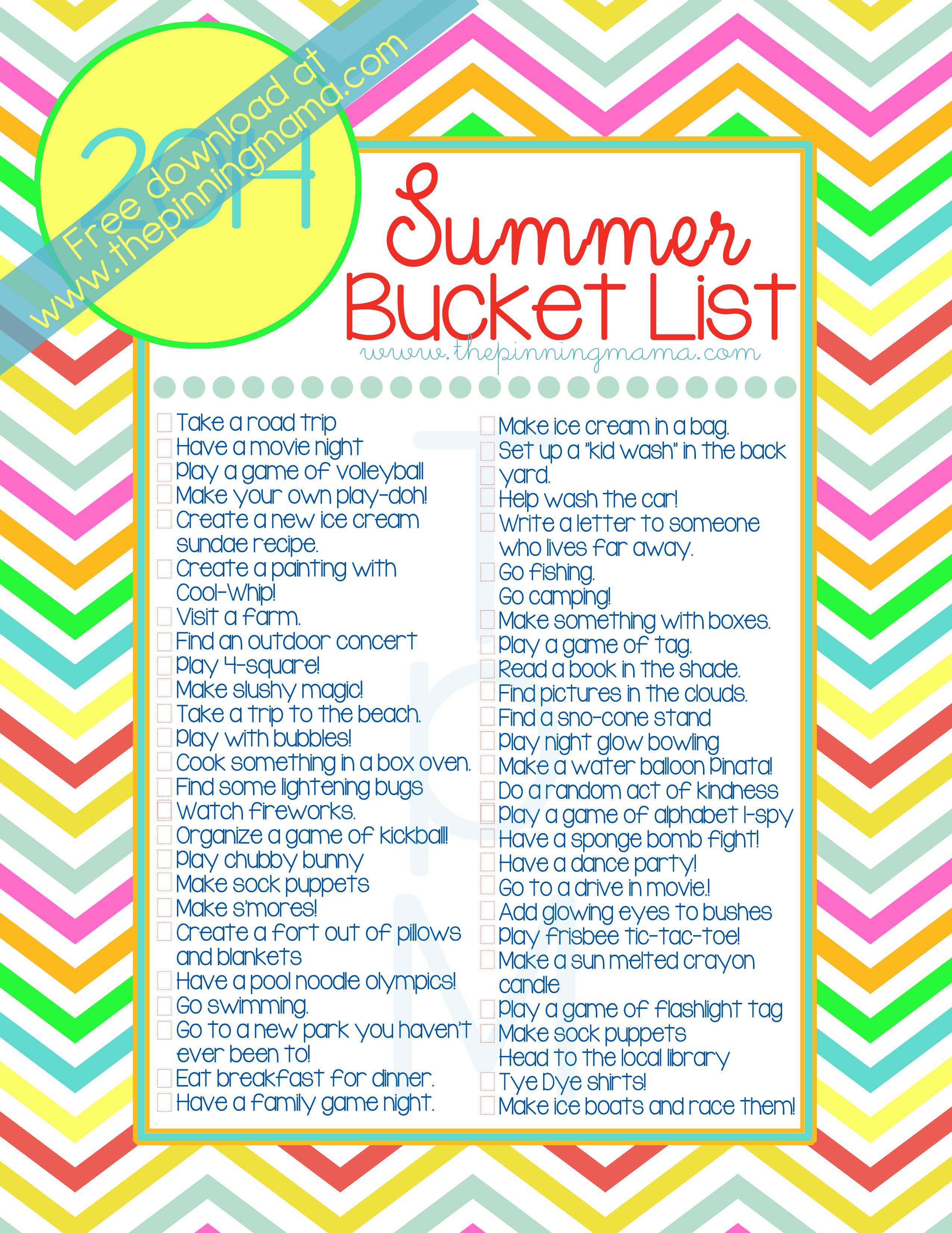 Free Printable Summer Bucket List 50 Summer Ideas