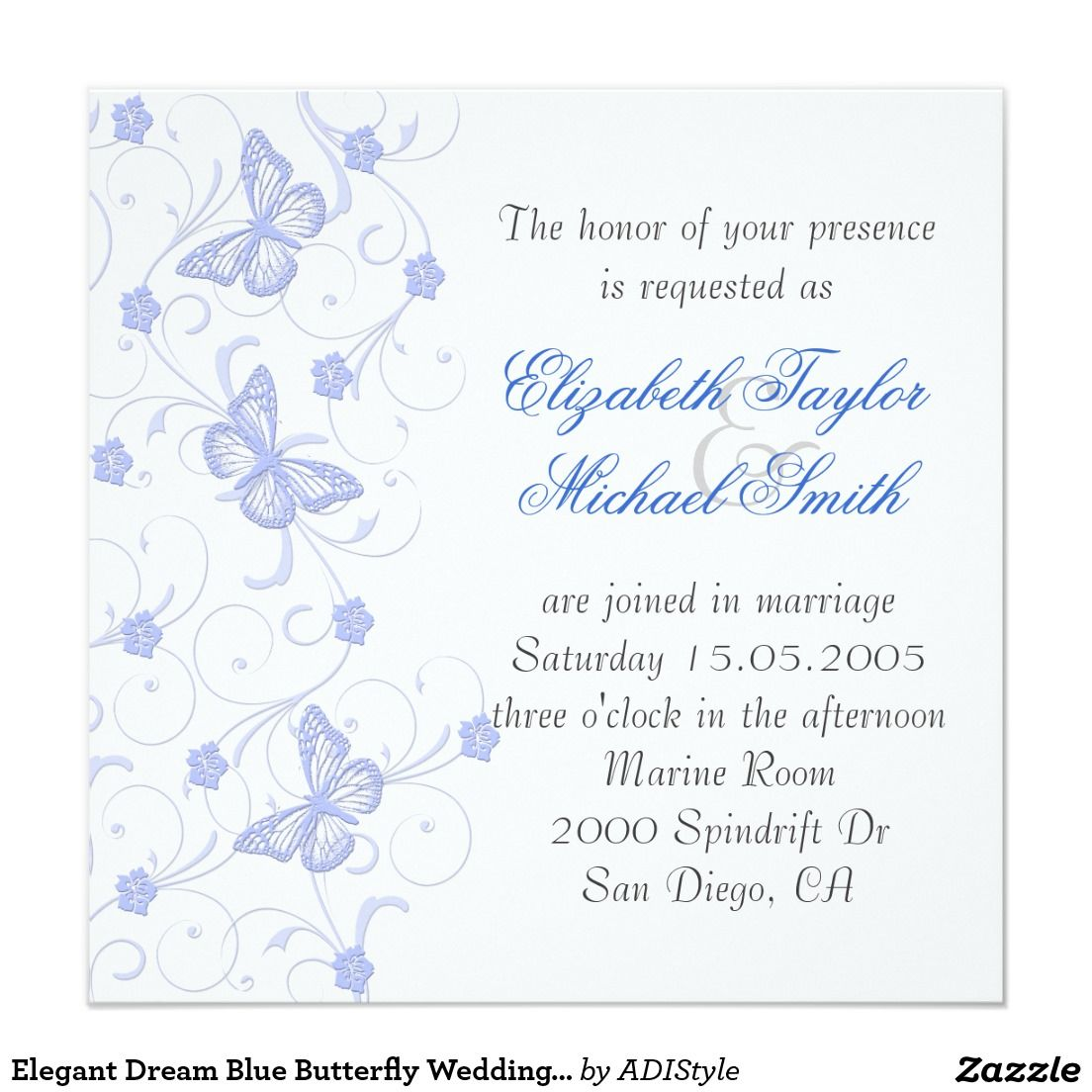 Elegant Dream Blue Butterfly Wedding Invite | Butterfly wedding ...