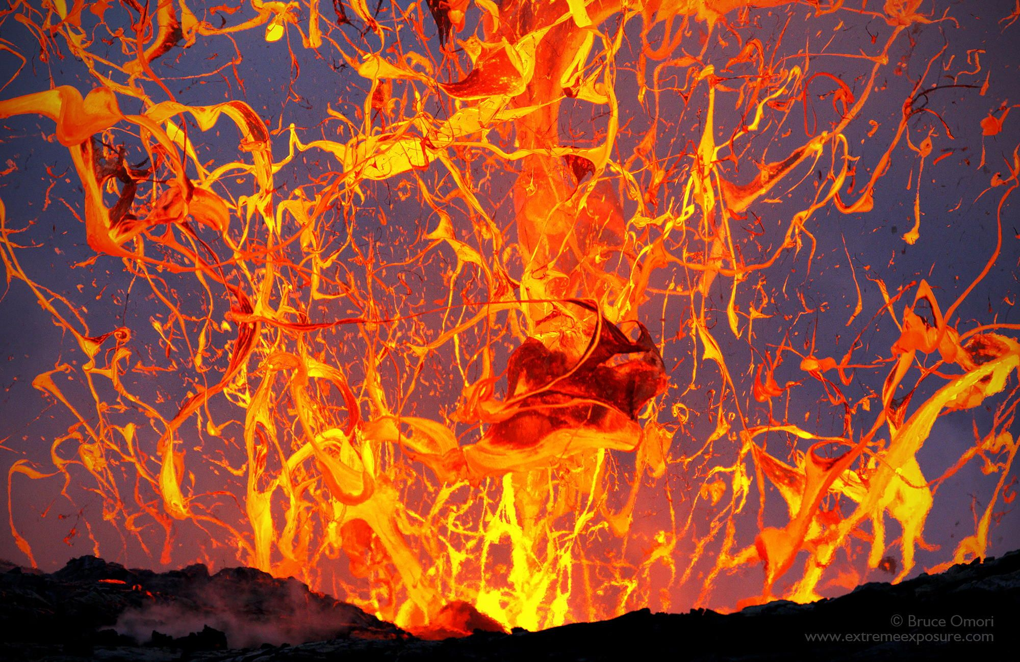 Photograph Ribbons In The Sky By Bruce Omori On Px Volcanoes - Incredible neon blue lava flames erupt volcano