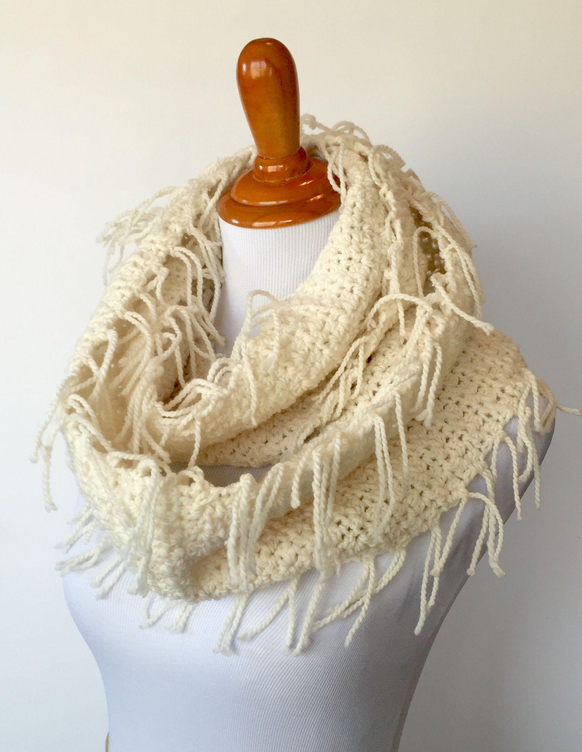 Crochet Pattern - Boho Scarf with Fringe   Bohemian style, Crochet ...