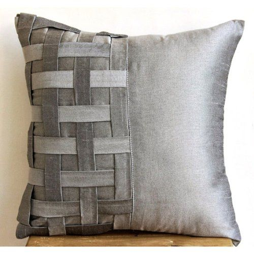 Grey Silver Bricks 22x22 Inches Decorative Large Pillow Covers Silk Pillow Cover Silk Throw Pillows Throw Pillow Cover Couch Decorative Throw Pillow Covers