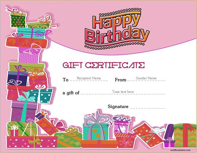 Birthday Gift Certificate for MS Word DOWNLOAD at   - ms word gift certificate template free