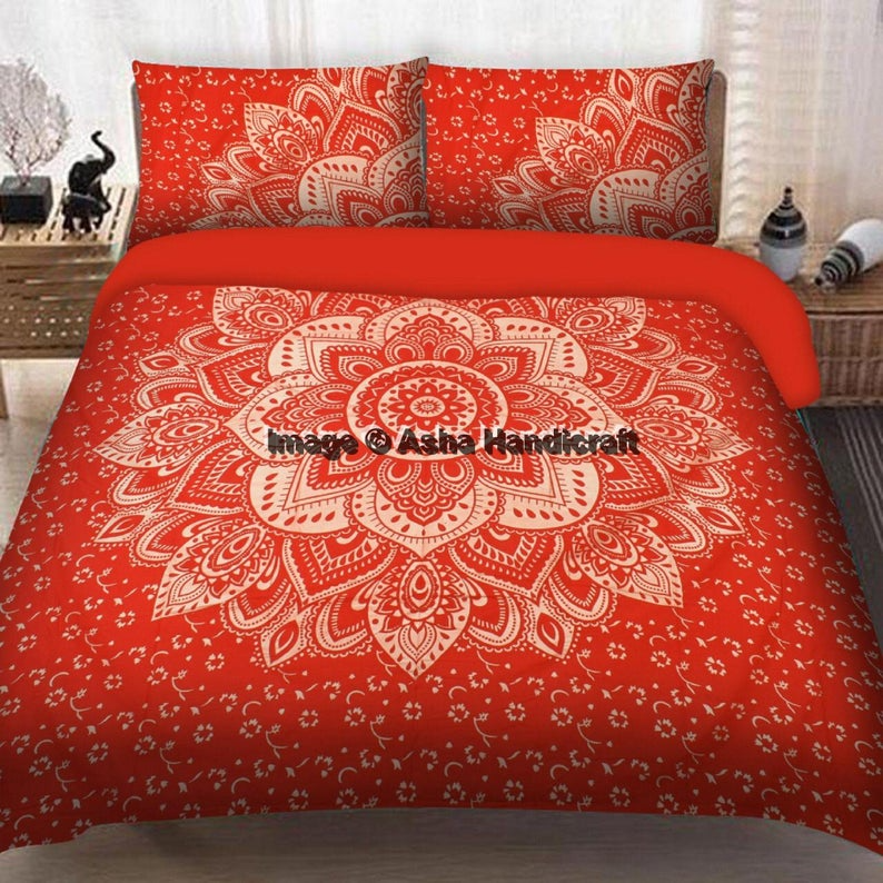Cotton Queen Bedspread Boho Bed Sheet Set Ombre Mandala Printed Red Tapestry