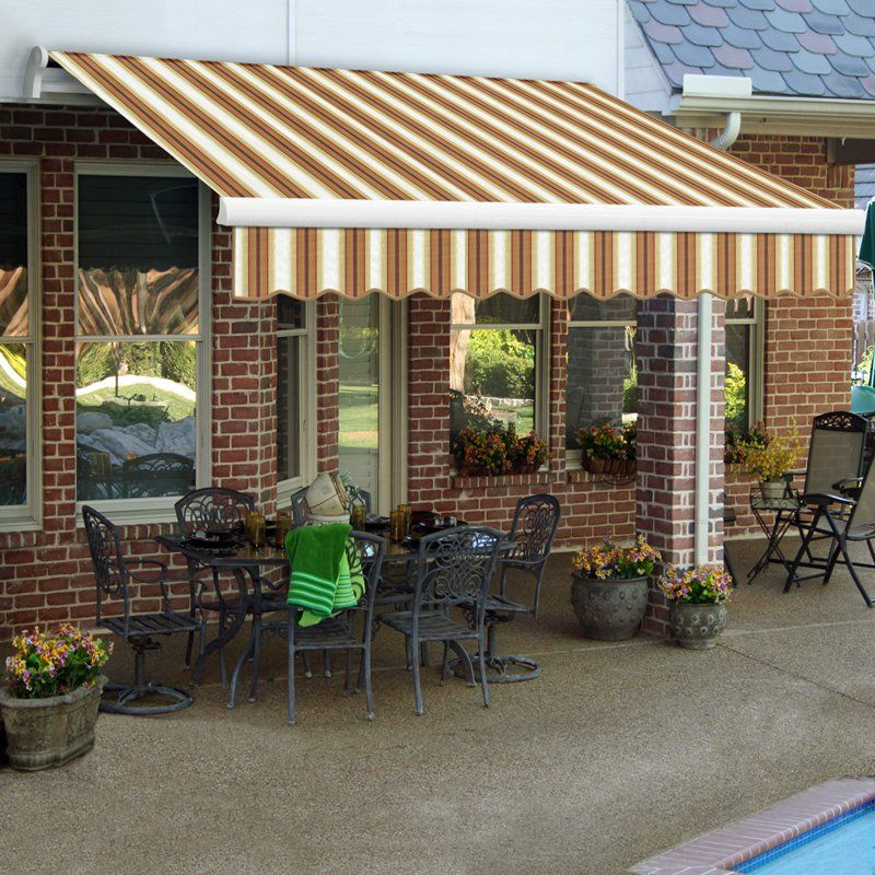 High Quality Manual Retractable Awning White/Tan/Terra Cotta Stripe