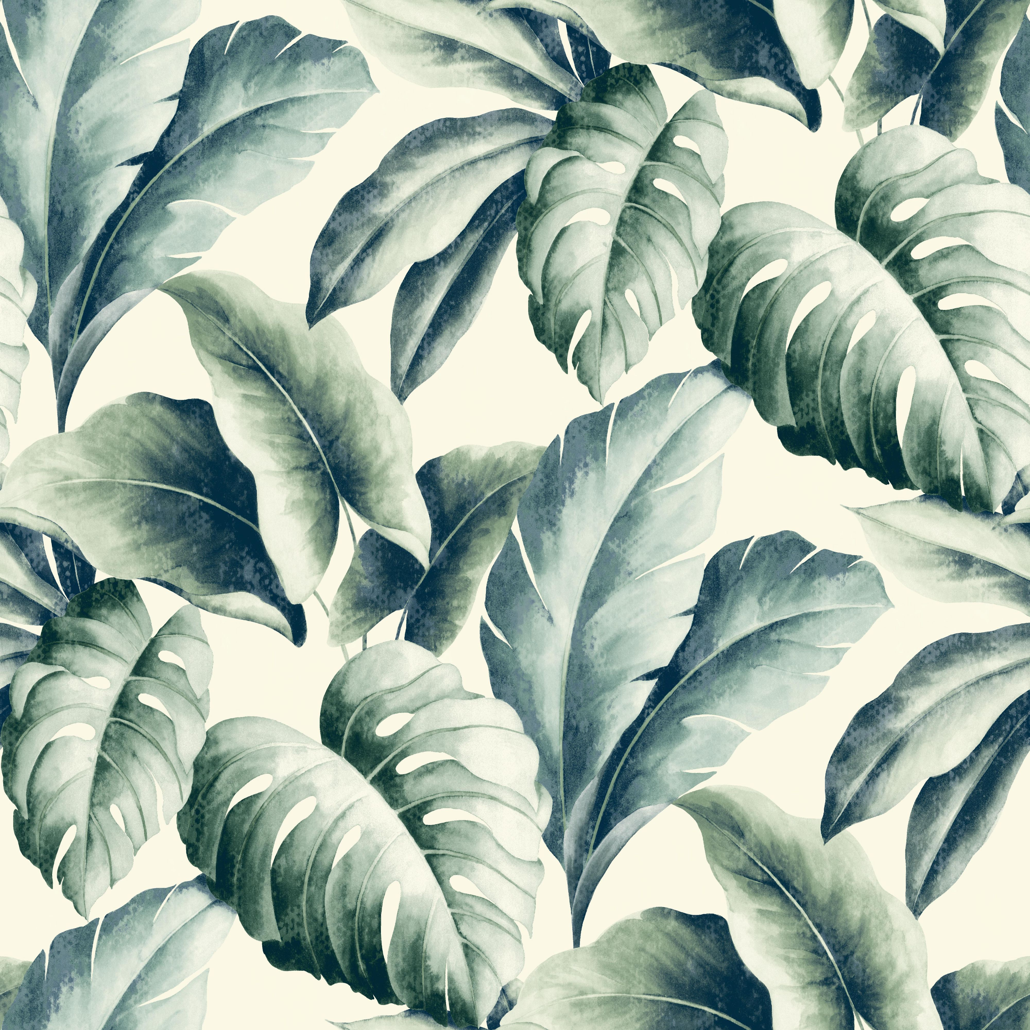 Gold Green Palm Leaf Wallpaper Departments Diy At B Q In