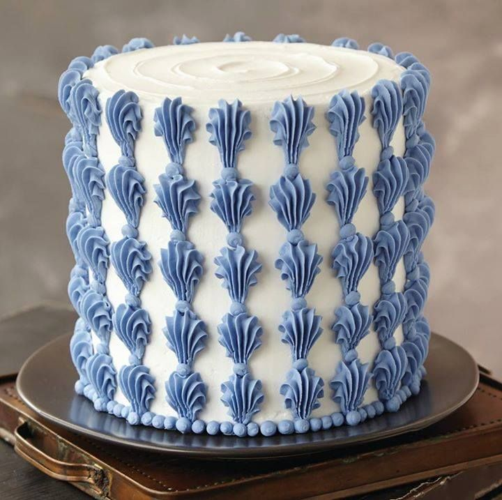 Buttercream and royal blue icing is super simple follow