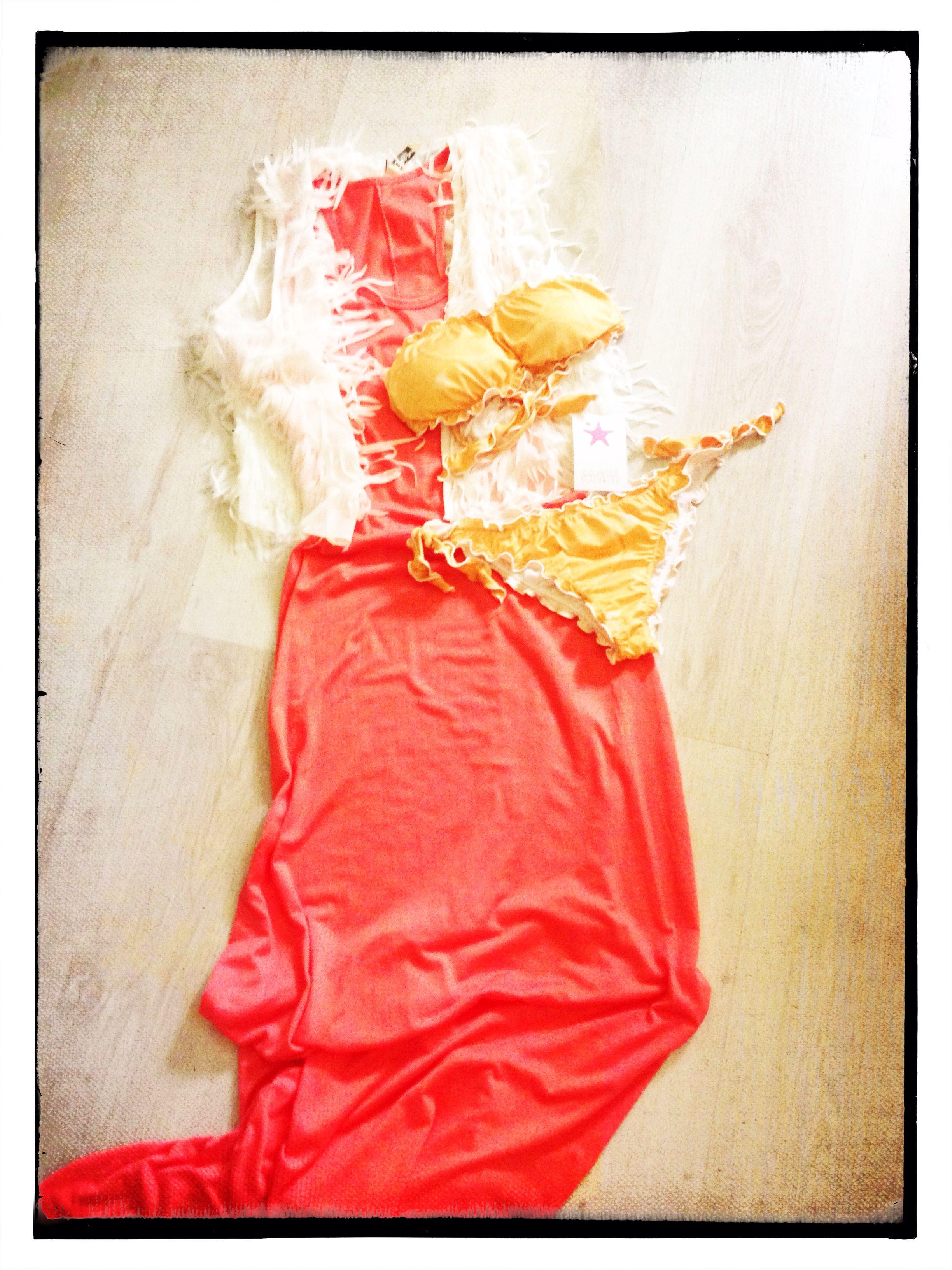 """Vestito lungo pesca, gilet con frange , costume """"spritz"""""""