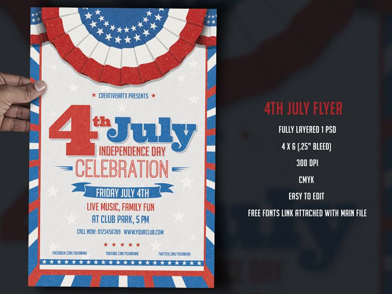Th July Independence Day Flyer Template  Perfect Poster Design