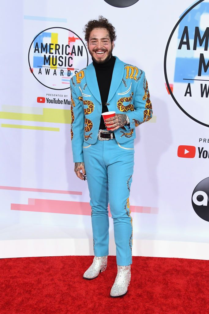 Post Malone attends the 2018 American Music Awards at Microsoft...