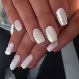 Iridescent White Pearl Fairy Dust Pearl Nails Mermaid Nails Silver Nails