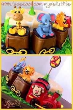 animal train cake - Google Search