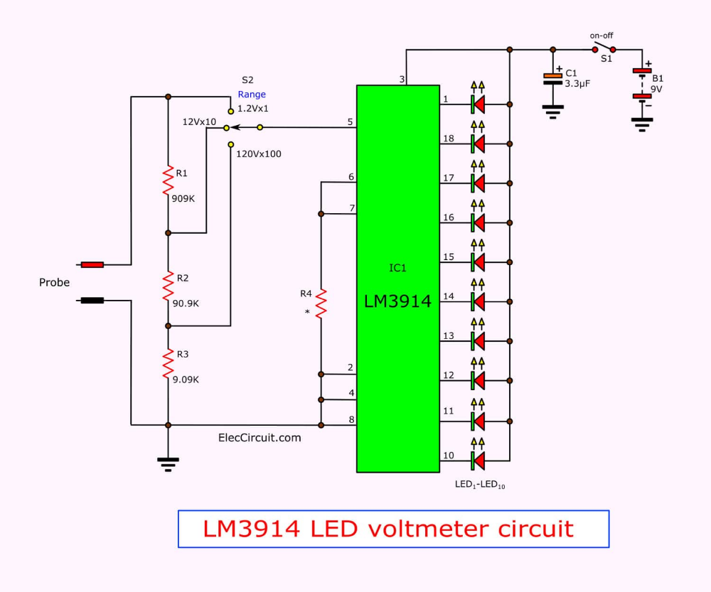 Simple Led Voltmeter Circuit Using Lm3914 Eleccircuit Electronics Projects For Beginners Circuit Led