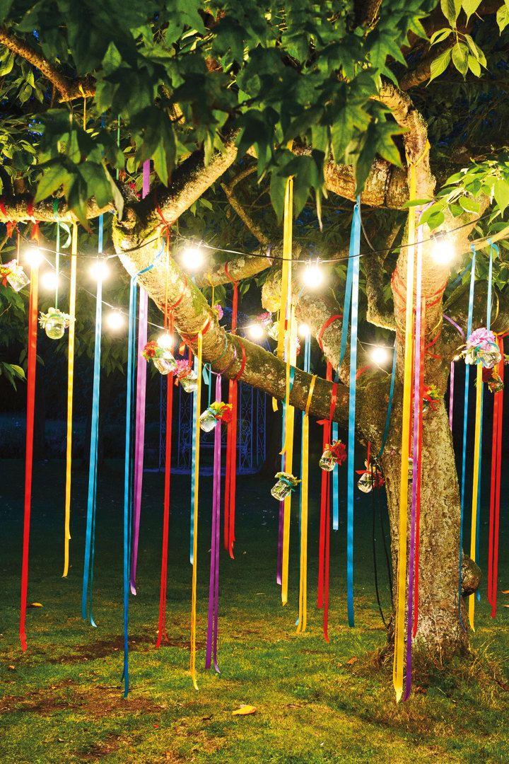 Iluminación en jardín para fiesta Celebraciones niños Pinterest