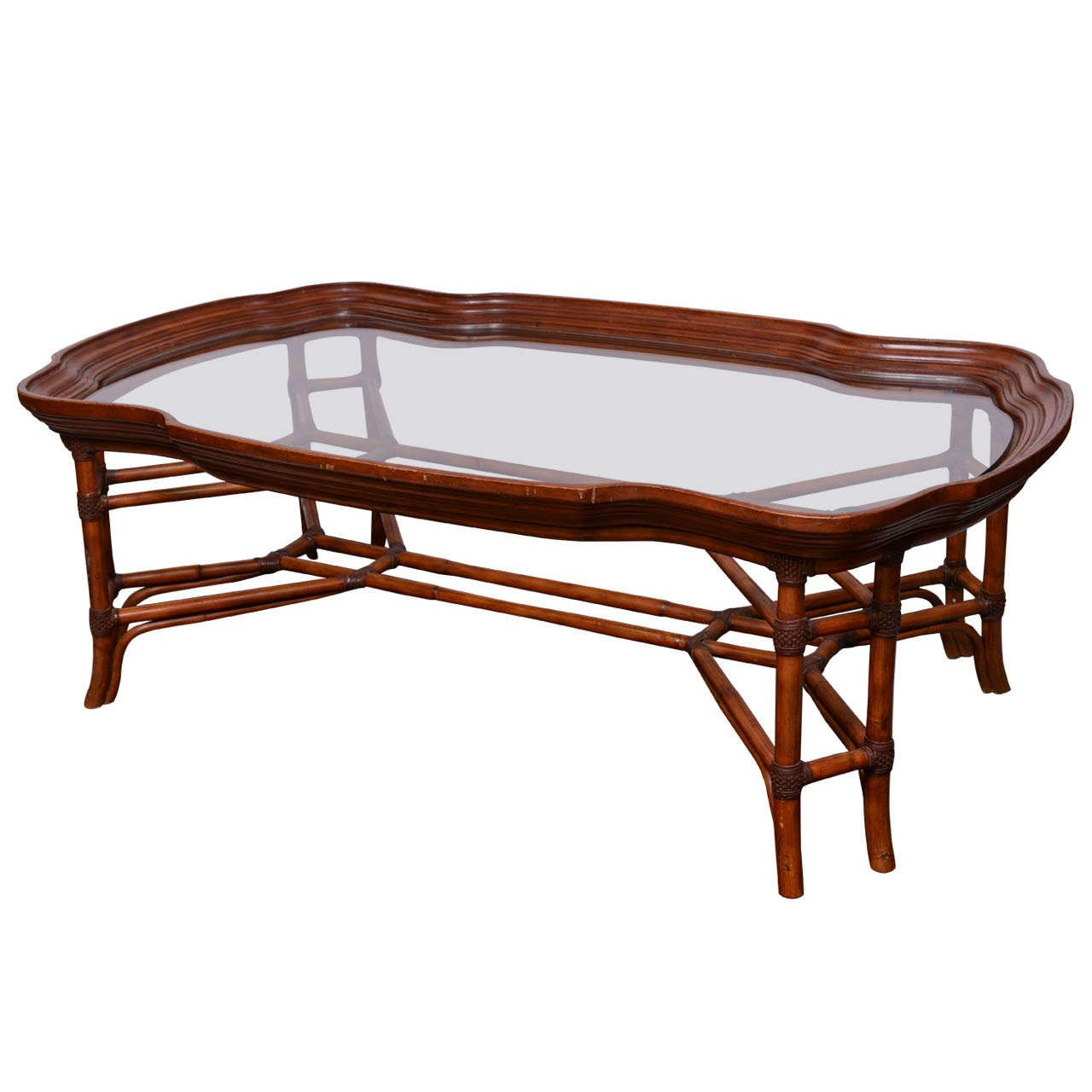 Large Faux Bamboo Coffee Table With Glass Top At 1stdibs Bamboo Coffee Table Coffee Table Glass Top Coffee Table [ 1280 x 1280 Pixel ]
