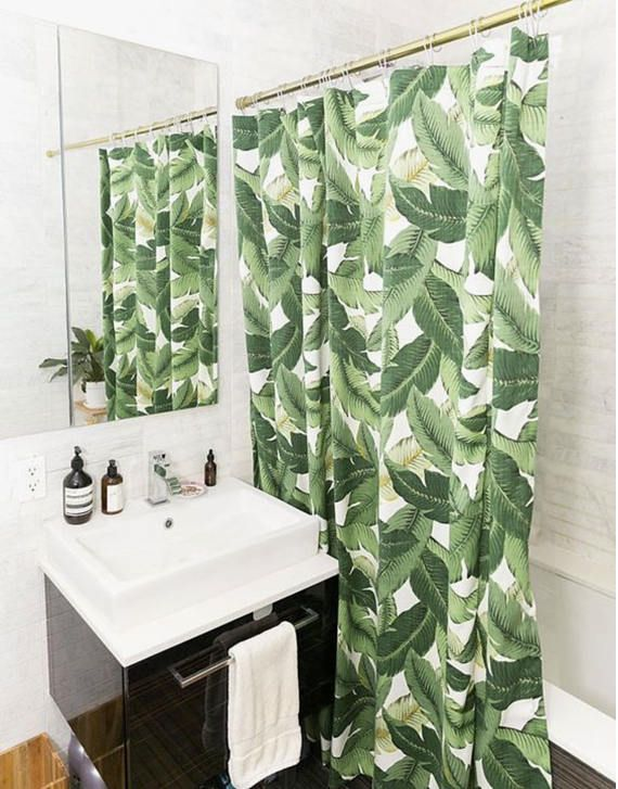 Custom Made Tropical Shower Curtain In Durable Palm Leaf Banana Leaf Fabric This Is An Indoor Outdoo Tropical Bathroom Brooklyn Apartment Bathroom Inspiration