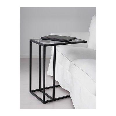 Laptop Stand Side Coffee Table Black Brown Frame Glass Metal Ikea Vittsjo Modern Laptop Stand Ikea Ikea Vittsjo Ikea Side Table