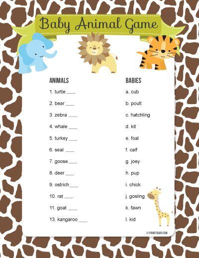 Giraffe Animal Print Baby Shower Games Word Scramble Cards