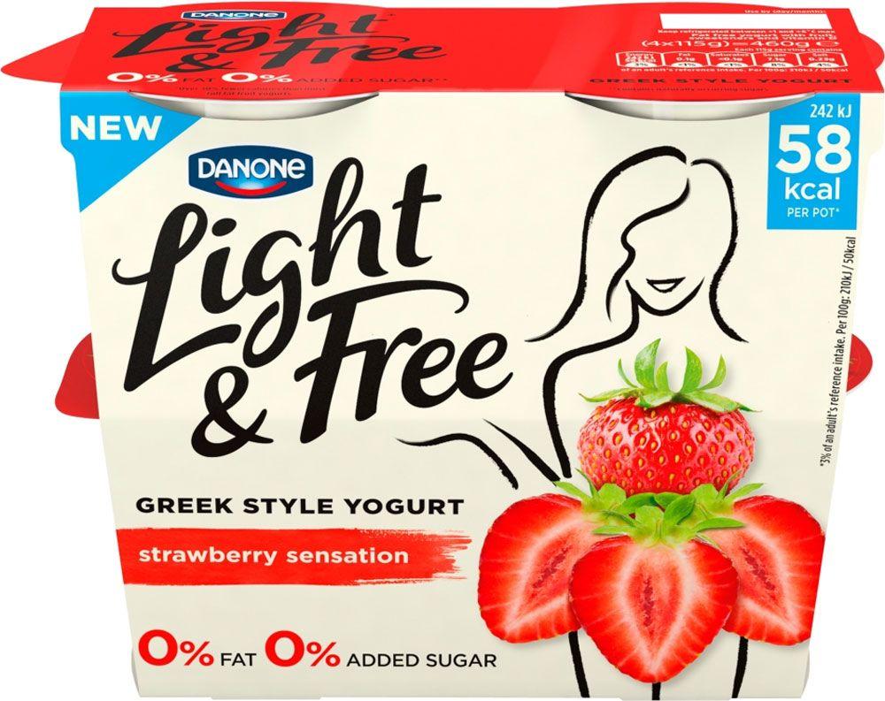 Danone light free greek style yogurt strawberry