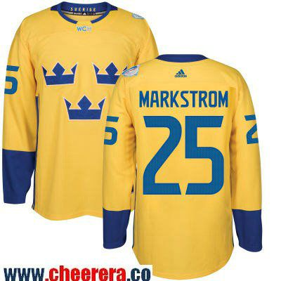 df70c881264 Men's Team Sweden #25 Jacob Markstrom adidas Yellow 2016 World Cup of Hockey  Custom Player Stitched Jersey