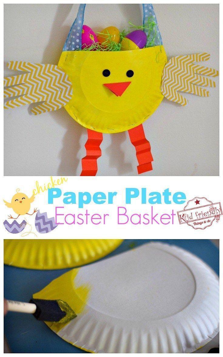 DIY Paper Plate Chicken Easter Basket Craft for Kids | Basket crafts Treat holder and Diy paper  sc 1 st  Pinterest & DIY Paper Plate Chicken Easter Basket Craft for Kids | Basket crafts ...