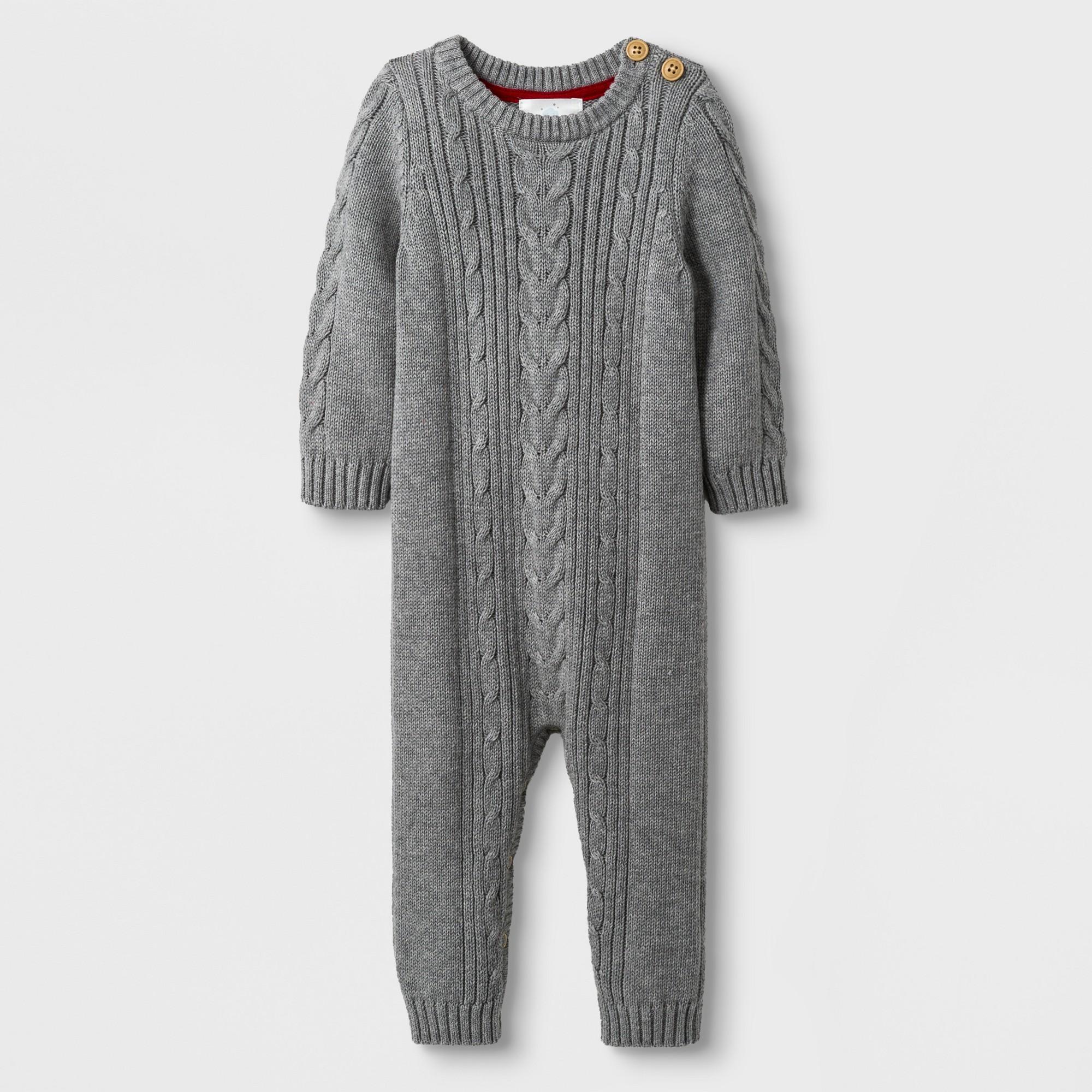 017cdf24d3bd Baby Girls  Long Sleeve Cable Sweater Romper - Cloud Island Heather Gray  Newborn