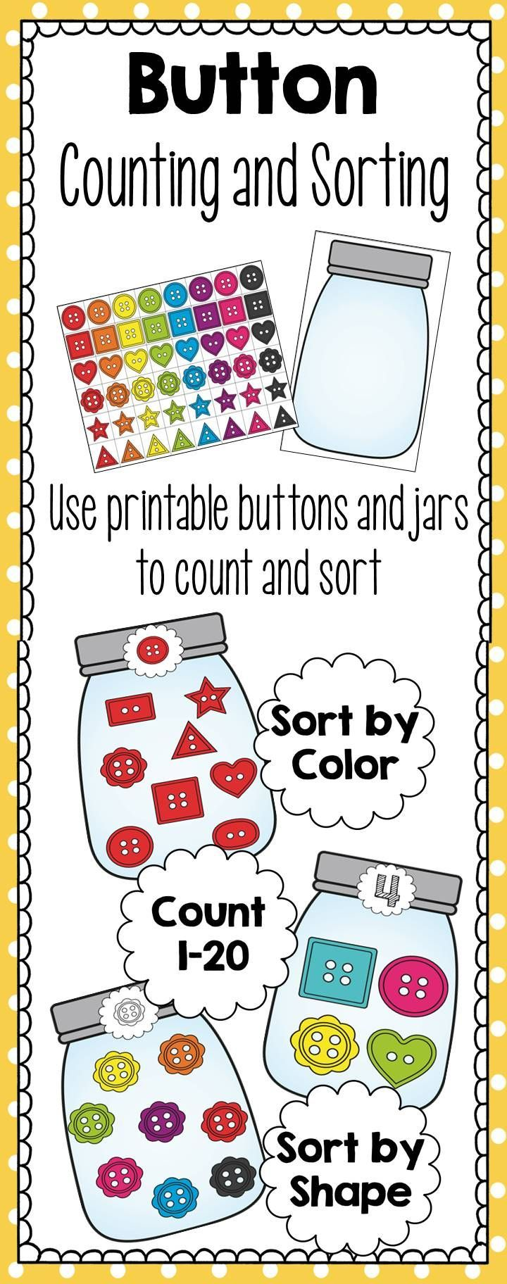 Counting And Sorting Button Jars Ccss Aligned Sorting Activities Preschool Math Kindergarten Worksheets [ 1824 x 720 Pixel ]