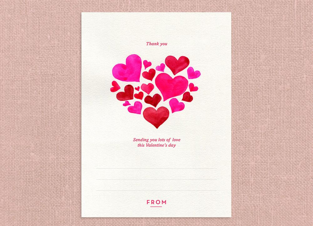 valentines day thank you card hearts watercolor send card for free via