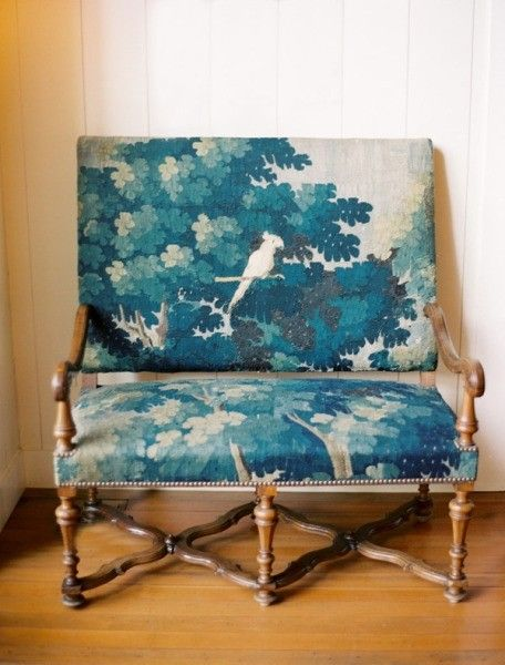 """Antique Blue Chair. """"would be a cute rustic entry bench"""""""