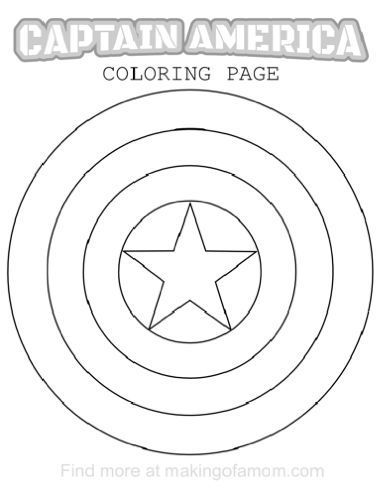Captain america coloring pages captain america shield for Captain america shield coloring page