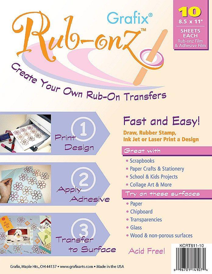 Large Rub On Transfers | Grafix Rub-Onz 8-1/2x11, 10 sheets - Art ...