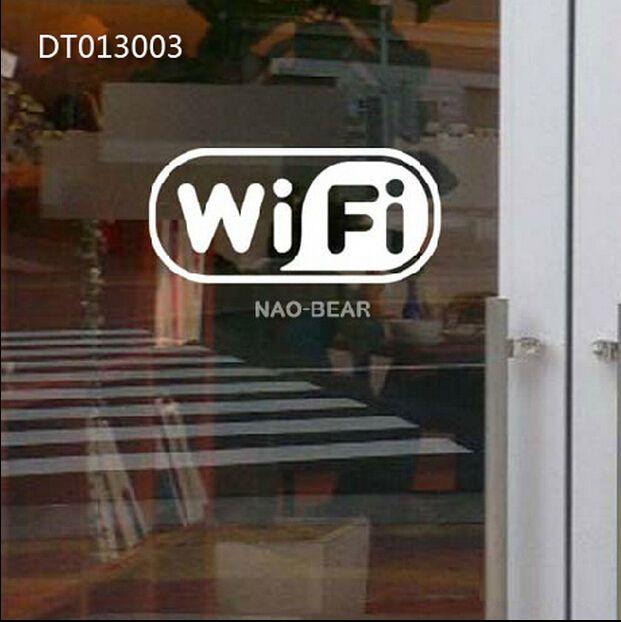Large Free Wifi Sing Vinyl Glass Sticker For Caferestaurantbarpub
