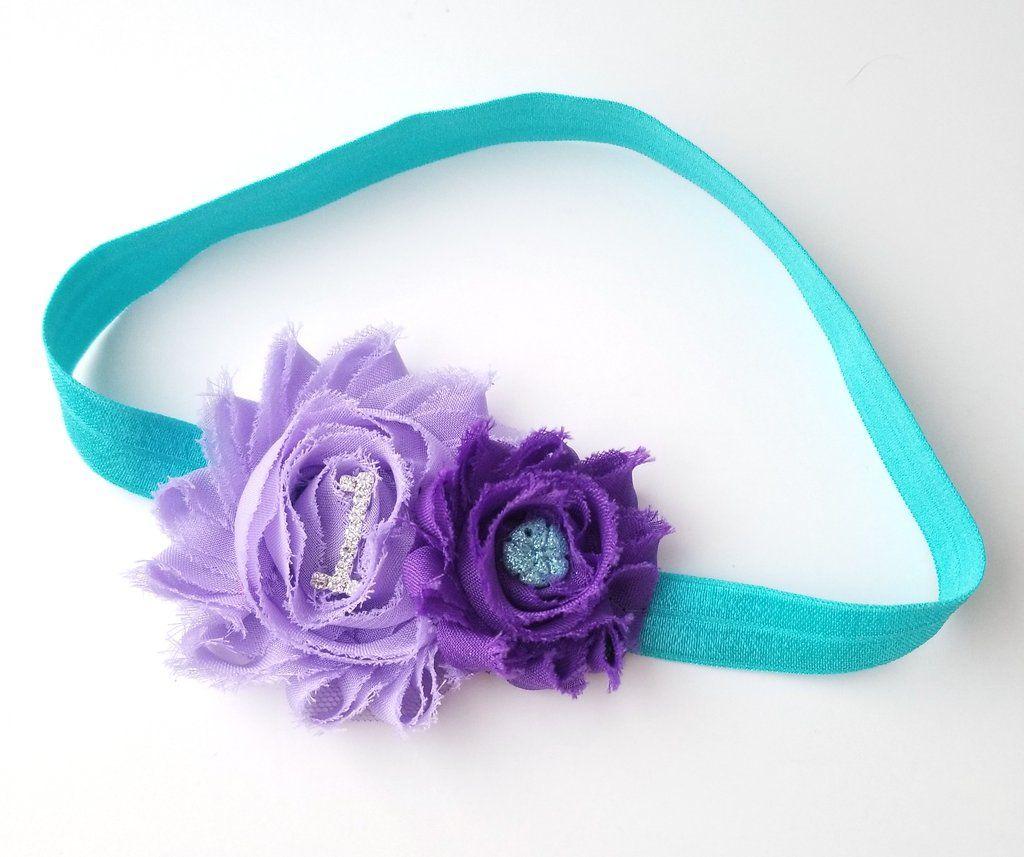 Aqua Hair Bow Lavender Headband Lavender Hair Bow Newborn Headband Aqua and Lavender Headband Toddler Headband Aqua Cake Smash