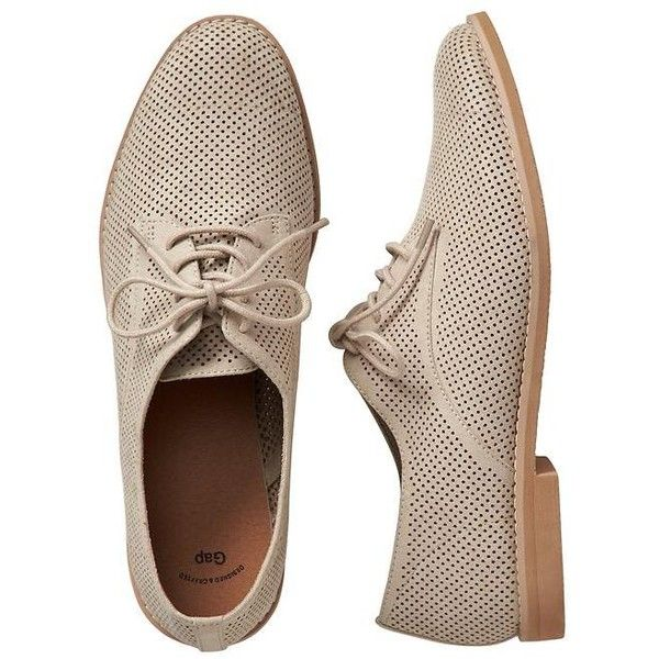 Gap Women Factory Perforated Oxfords ($40) ❤ liked on Polyvore featuring  shoes, oxfords