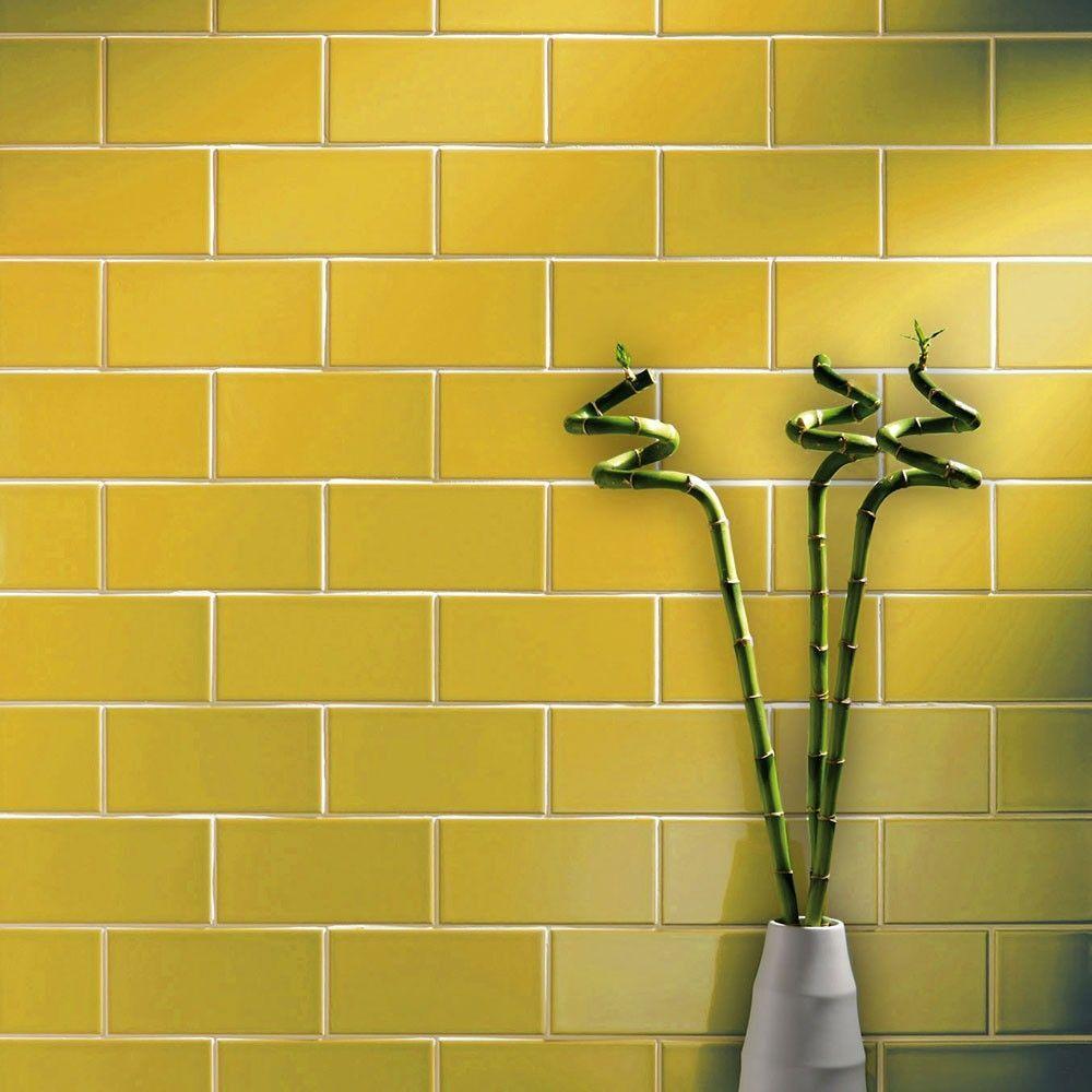 Gloss 200x100 St James Yellow Smooth Metro Tiles Yellow