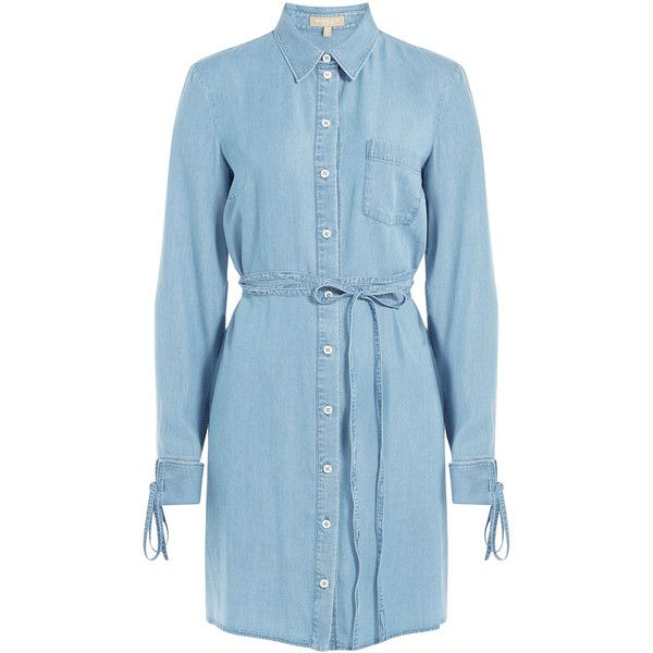 Michael Kors Collection Denim Shirtdress (610 CAD) ❤ liked on Polyvore featuring dresses, blue, sky blue dress, denim shirt dress, blue long sleeve dress, loose shirt dress and collared dresses