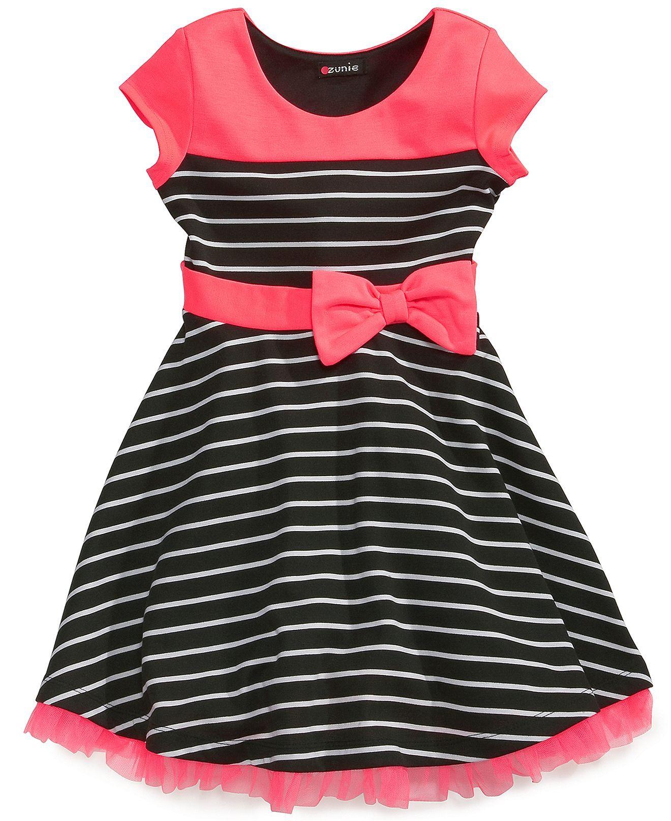 Pink u violet little girlsu striped shortsleeve dress kids