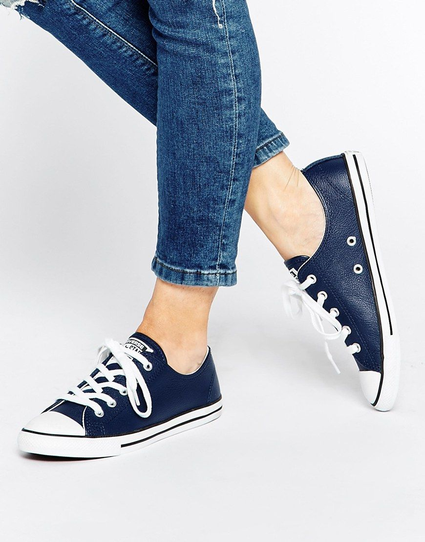 Image 1 of Converse Navy Dainty Low Top Trainers  950dfa9a8
