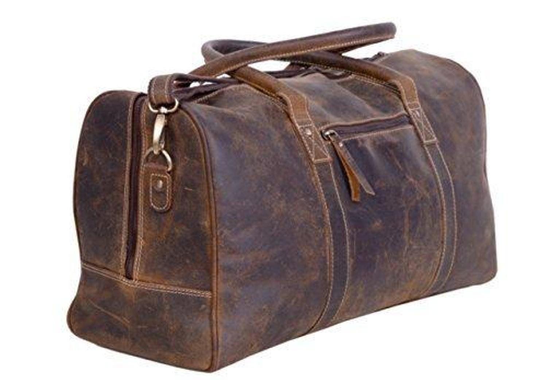 "30/""Bag Leather Retro Men Travel Duffle Vintage S Genuine Gym Luggage Duffel New"