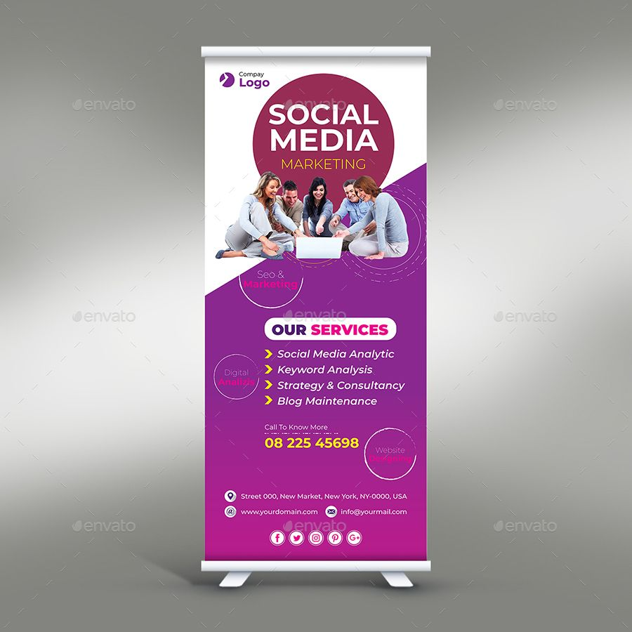 Social Media Marketing Roll Up Banner With Images Social Media
