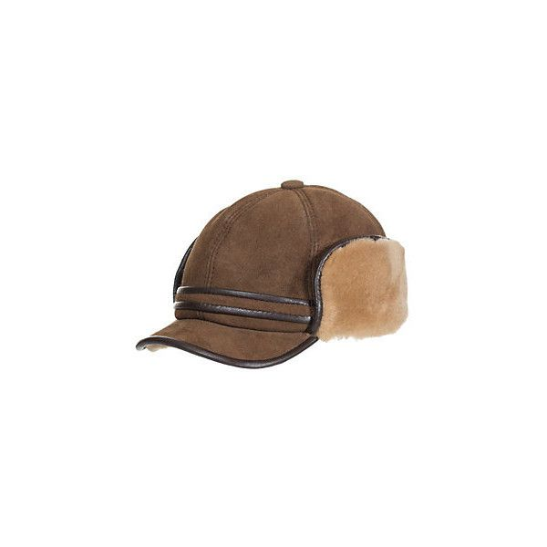 Shearling Sheepskin Cadet Cap with Snap Flaps ( 145) ❤ liked on Polyvore  featuring accessories 6b03f6a8297e