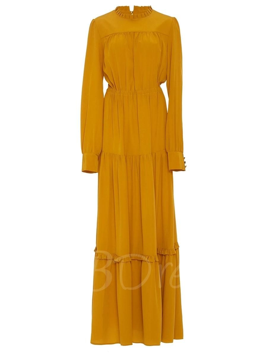 Yellow long sleeve turtle neck womens maxi dress pinterest maxi
