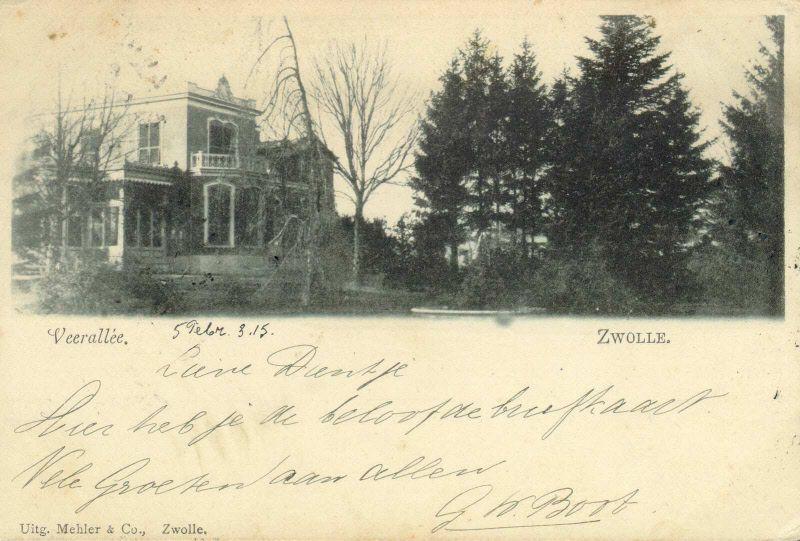 Buitenplaats Villa Flora aan de Veerallee 32 gezien uit het zuidoosten, ca. 1900