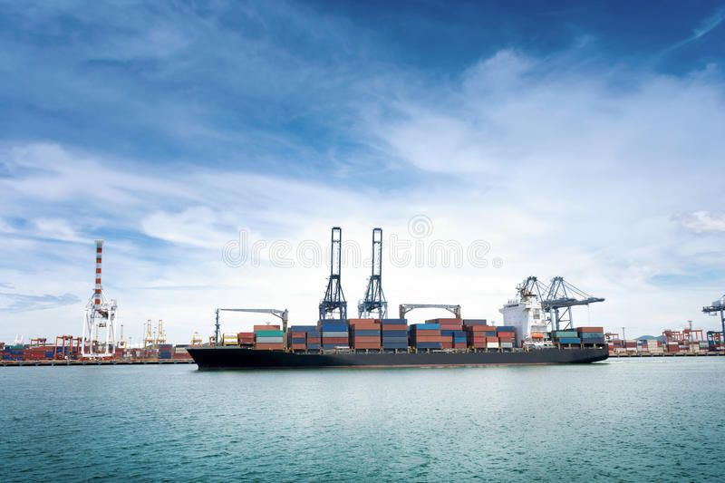 Logistics and transportation of International Container Cargo ship with ports cr