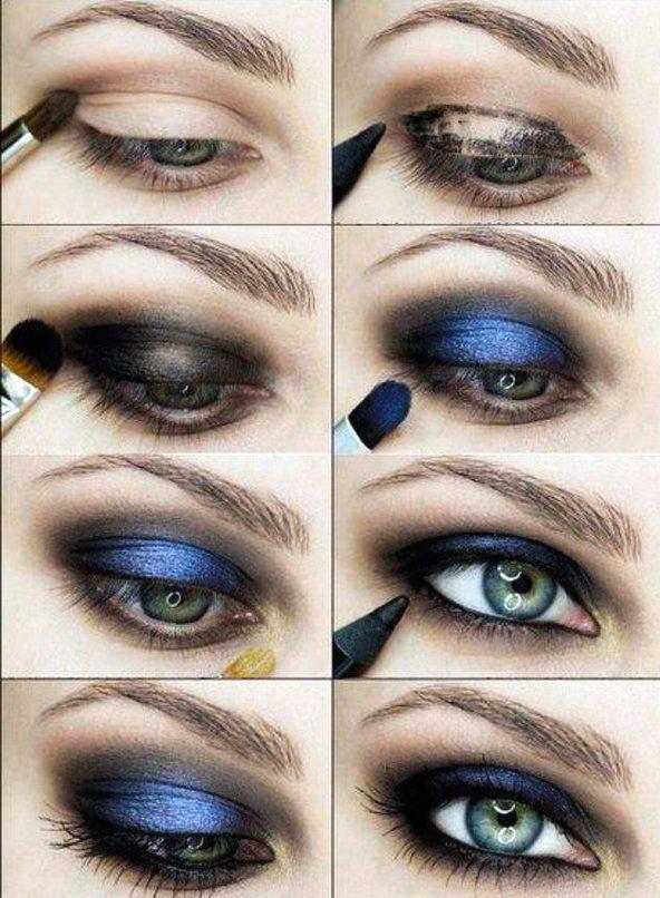 Maquillaje de fiesta de noche vestido azul